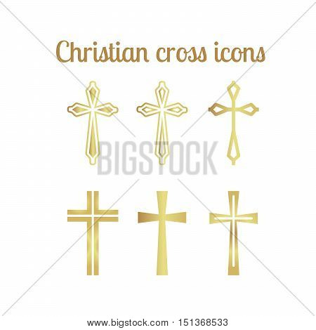 Golden christian cross icons isolated on white. Vector illustration