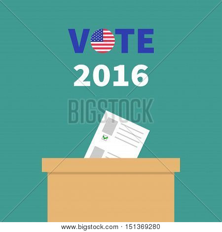 Ballot Voting box with paper blank bulletin Choice concept. Polling station. President election day Vote 2016 text round badge button. Green background Flat design Card. Vector illustration