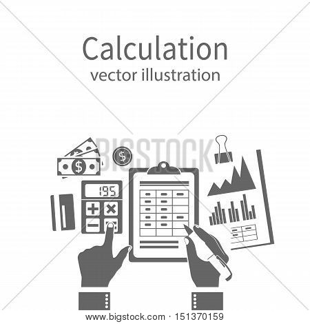 Calculation concept icon. Businessman accountant . Flat design Vector Illustration. Financial calculations counting profit income taxes statistics data analytics planning report.