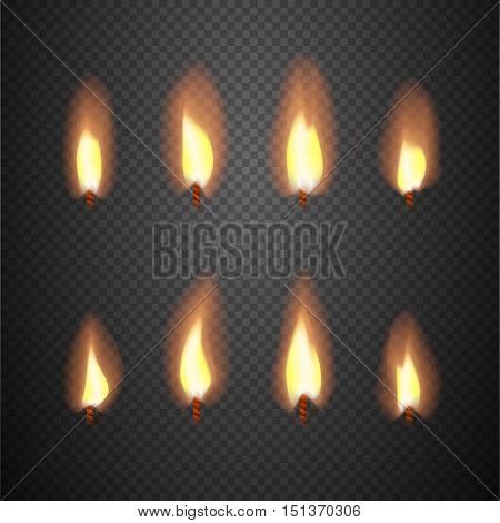 Burning candle flame animation vector frames. Burning wick isolated on checkered background illustration