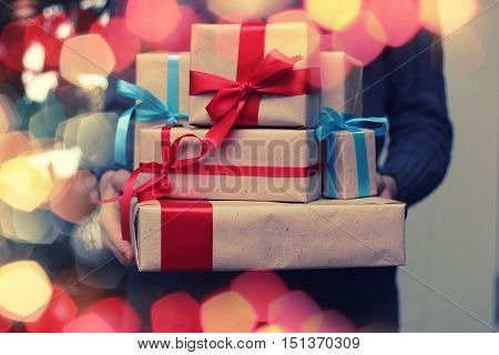 stack of gifts with ribbon for Christmas holidays