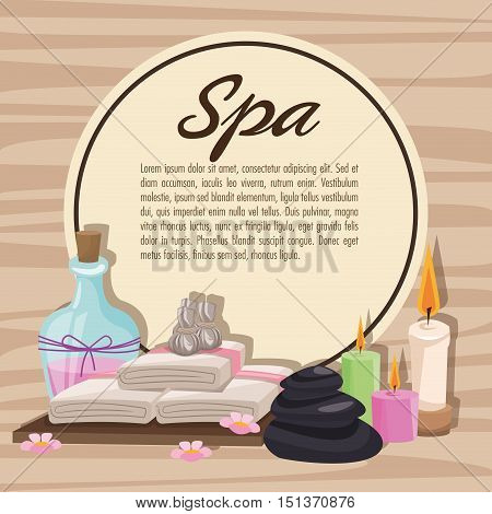 Oils towels candles and stones icon. Spa center and healthy lifestyle theme. Colorful design. Vector illustration
