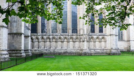 Detail of exterior of York Minster (Cathedral) York UK