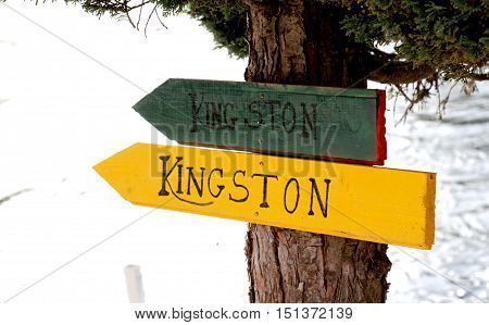 picture of a Tourist sign KIngston on wood