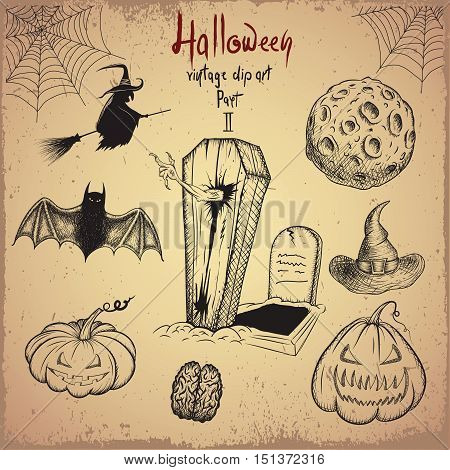 Vintage clip art. Collection of scary objects for Halloween design.Hand drawn style.Vector illustration