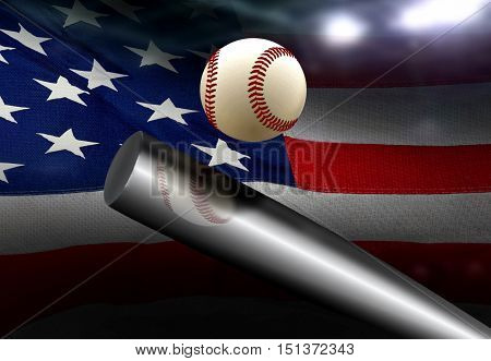 Baseball bat hitting ball with American flag background