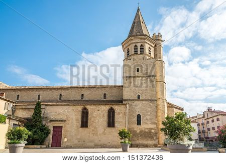 View at the Madeleine church of Beziers in France