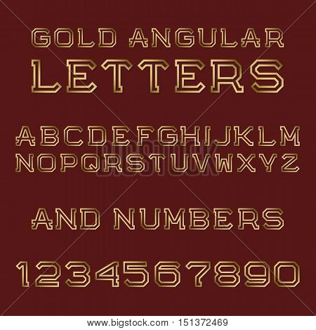 Gold angular letters and numbers. Fashion retro font. Isolated latin alphabet with figures.