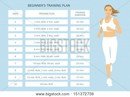 Training program for beginners. Jogging plan. Young woman running