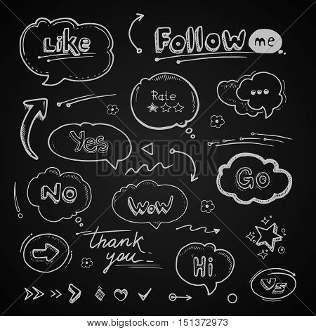 vector Hand drawn set of speech bubbles with dialog words Hello, Follow, like, Yes, Me, No, Rate, Go, Bye Hi. Arrows and lines isolate on dark background
