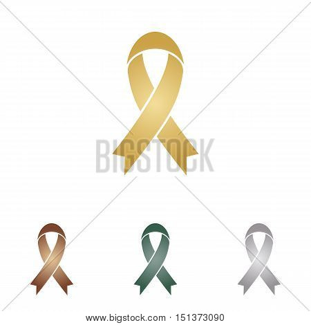 Black Awareness Ribbon Sign. Metal Icons On White Backgound.