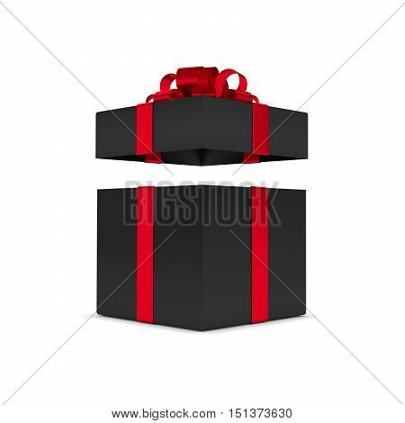 3D Rendering Of Gift Box With Open Lid Isolated Over White