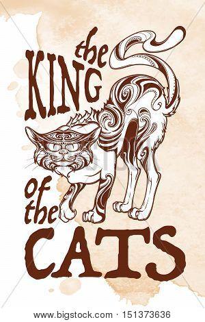 Halloween rerto illustration. The king of the cats. Intricate hand drawing. Folk tale illustration. Halloween concept design. T-shirt print. Tattoo design. EPS10 vector illustration.
