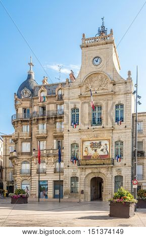 BEZIERS,FRANCE - AUGUST 27,2016 - View at the Town hall of Beziers. Beziers is a town in Languedoc in southern France.