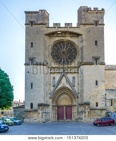 BEZIERS,FRANCE - AUGUST 27,2016 - Saint Nazaire Cathedral of Beziers. Cathedral is example of middle Gothic architecture from the 14th century