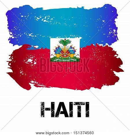 Flag of Haiti from brush strokes in grunge style isolated on white background. Country in North America. Latin America. Vector illustration