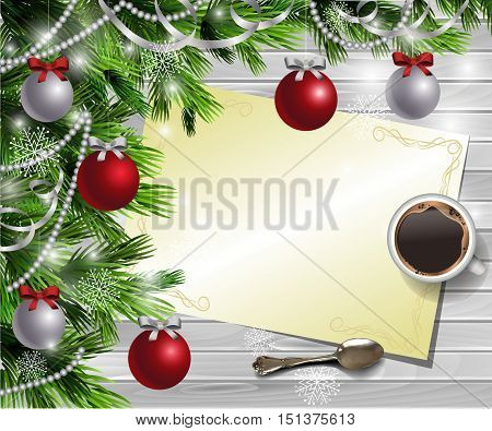 Christmas New Year design light wooden background with christmas tree and silver and red balls and wish list with a cup of coffee and teaspoon