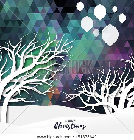 White mountains on polygonal festive background with merry christmas ball, garlands and origami tree. Mountain landscape. Xmas and New Year paper cut style. Vector seasonal design illustration