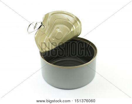 aluminum can (canned food) open and empty isolated on white background, packaging for food preservation