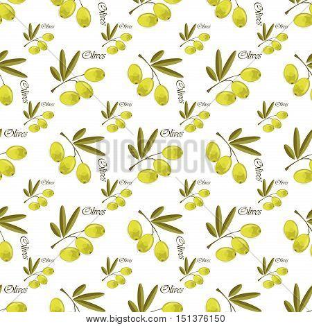 Seamless pattern olive organic vegetable vector. Vector olive branch seamless pattern. Branch tree green plant olives pattern. Natural design vintage nature olives seamless pattern organic vegetable.