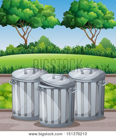 Three trashcans in the park illustration