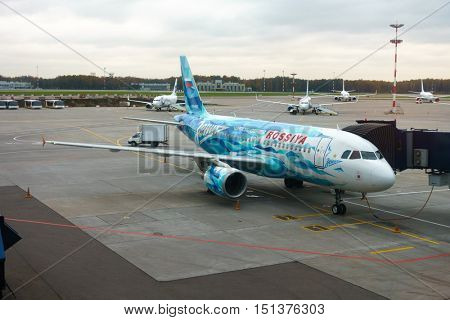 Moscow, Russia - October 5. 2016: Airplane of Zenit football Russian club in Vnukovo airport at day time