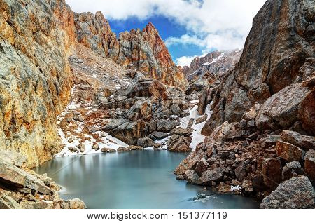 Iced lake surrounded by Schalbus-Dag mountain in Dagestan Caucasus Russia