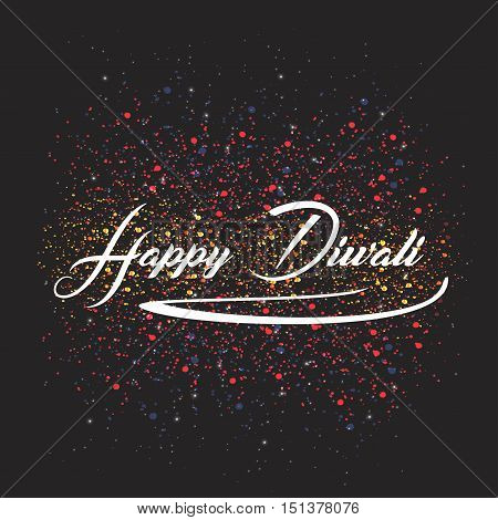Vector illustration traditional celebration of happy diwali. Festival of Lights elegant oil lit lamps. India holiday background