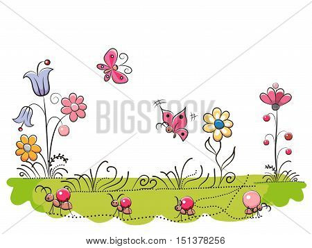 Meadow with Cute Flowers and butterflies on a white background