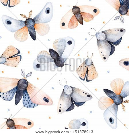 Butterflies and moths on white texture, handpainted watercolor background.