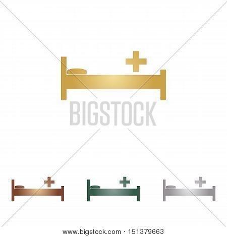 Hospital Sign Illustration. Metal Icons On White Backgound.