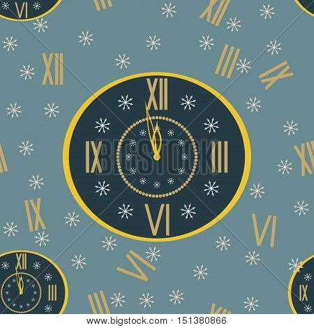 New Year festive background with clock face shows a few minutes before midnight of New Year's Eve, snowflakes and randomly scattered Roman numerals. Seamless vector illustration for celebratory design