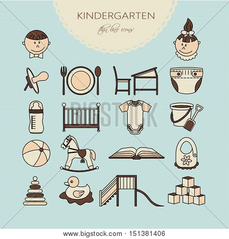 Child and baby care center color thin line icons. Kindergarten vector logo. Diaper, sandpit, slide, horse, ball, bottle, crib pacifier