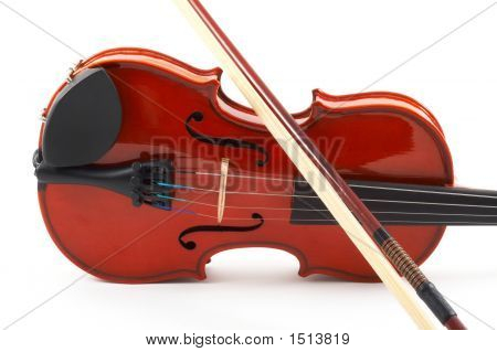 Violin With Bow Lying Side Down On White Background