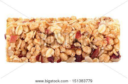Granola bar closeup isolated on white background