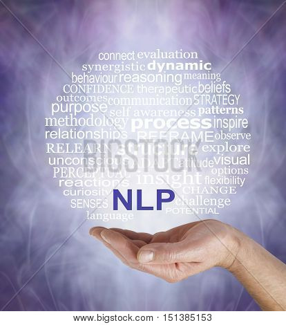 Neuro Linguistic Programming  word cloud - male hand palm up with a circular NLP word cloud floating above on a misty muted purple grey background