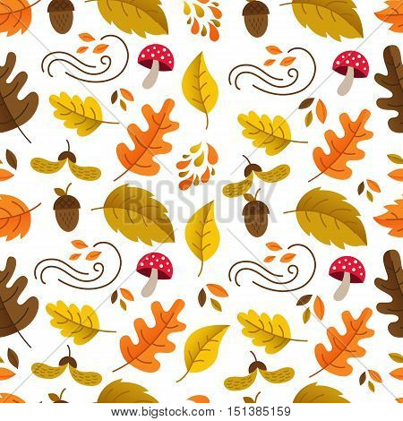 Vector autumn seamless pattern with mushroom acornoak and maple leaves. Autumn elements isolated on white background. Perfect for wallpaper gift paper web page background autumn greeting cards.