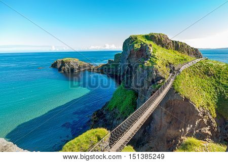 In Northern Ireland Rope Bridge, Island, Rocks, Sea