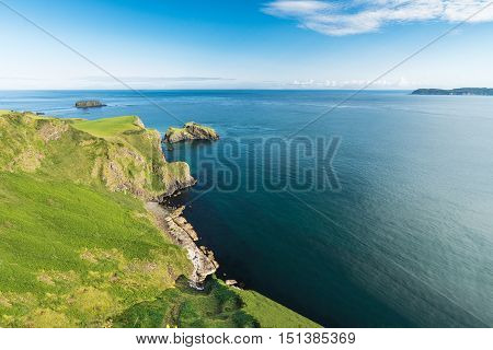 Beautiful landscape of cliffs in Ireland, Northen Ireland, August 2016