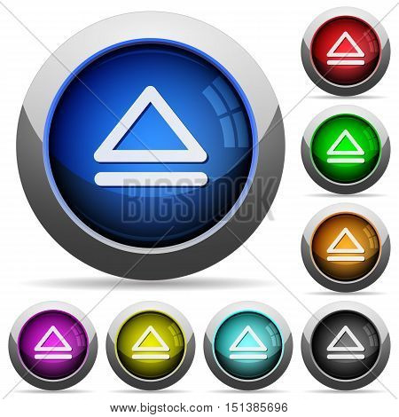 Set of round glossy media eject buttons. Arranged layer structure.