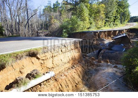 Road near Fayetteville North Carolina that has collapsed after Hurricane Matthew