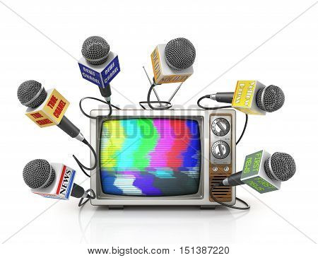 Tv news or reportage concept. A lot of microphones from different channel due to old TV. Microphones and television. 3d illustration