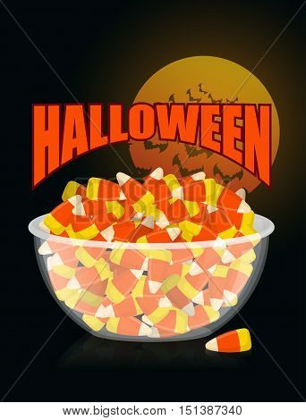 Halloween. Bowl And Candy Corn.moon And Bat. Sweets On Plate. Traditional Treat For Terrible Holiday