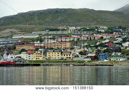 view of Hammerfest City Finnmark province Norway