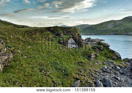 famous Kirkeporten Rock near Skarsvag Nordkapp Norway