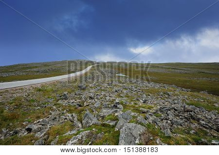 the road to Nordkapp Finnmark province Norway