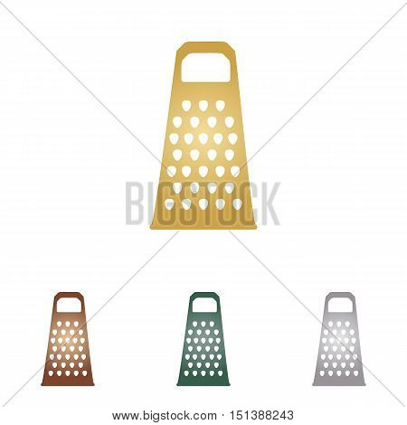 Cheese Grater Sign. Metal Icons On White Backgound.