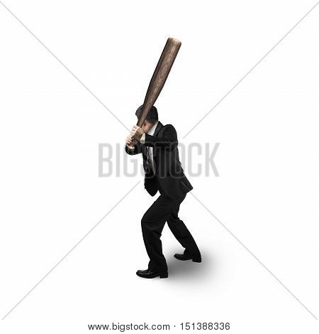 Businessman Holding Baseball Bat In Batting Stance