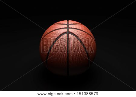 Closeup  Basketball on black background. 3D illustration