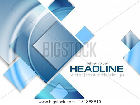 Blue glossy tech squares abstract background. Vector geometric graphic design